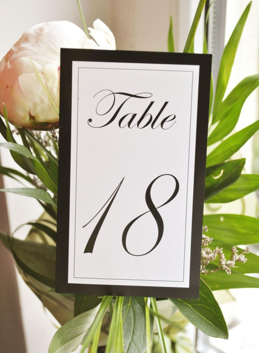 Hochzeit - Wedding Table Numbers I Elegant black and white I 4 types of calligraphy