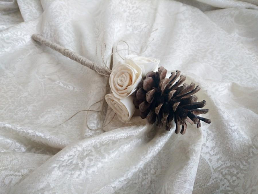 Hochzeit - Flowergirl wand cream rustic wedding Ivory Flowers, pine cone, linen cord handle, Flower girl, Bridesmaids, sola roses vintage custom