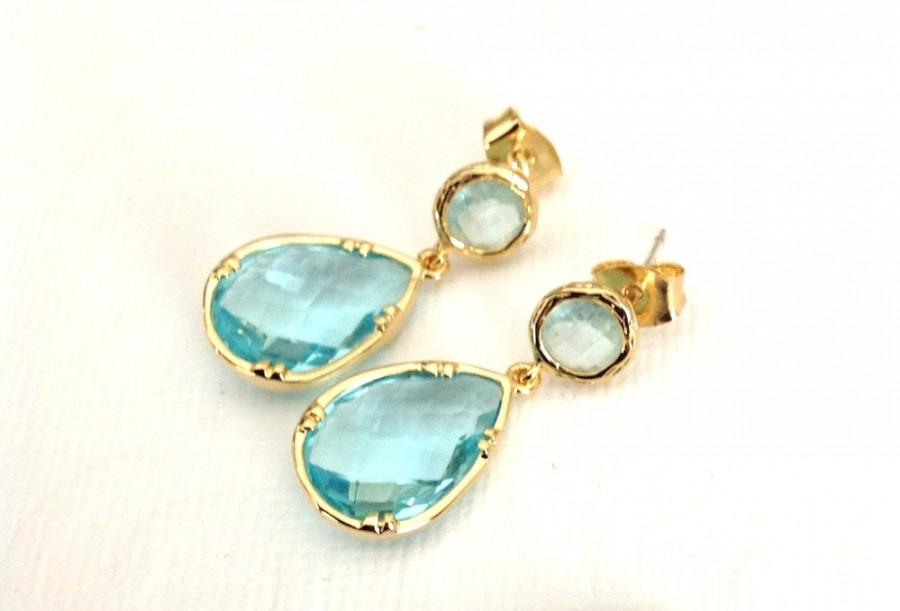 Wedding Jewelry Earrings Gold Stud Blue Drop Aquamarine Wife Bridesmaids Gift March Birthstone