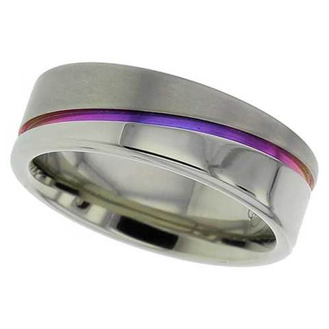 zirconium wedding band anodised zirconium ring purple blue wedding band mens wedding ring - Purple Wedding Ring