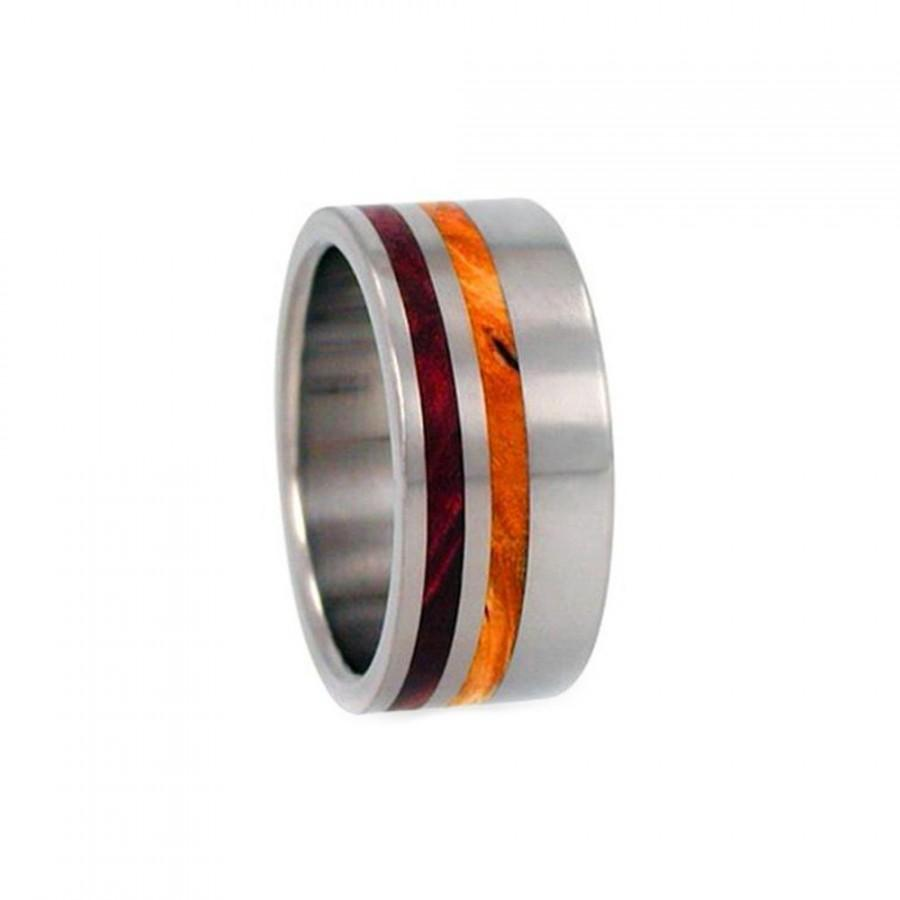 Titanium Wood Ring Redwood And Gold Box Elder Wood Inlay Wooden
