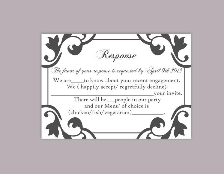 Wedding - DIY Wedding RSVP Template Editable Word File Instant Download Rsvp Template Printable RSVP Cards Black Rsvp Card Elegant Rsvp Card