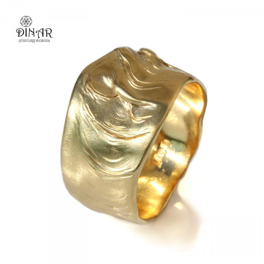 Yellow Gold Uni Wedding Band 18k Men 14k Thick Wide Organic Designer Handmade Israel Dinar Jewelry Design