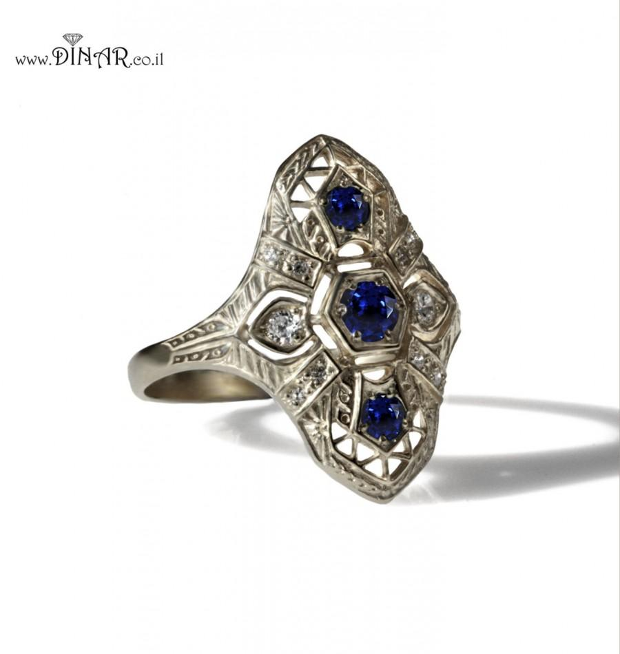 sapphire shoot ring filigree unique of cluster aqua diamond size rings gold ruby vintage emerald intricate period full era style carat edwardian for ine jewelry wedding old daisy antique mine cut dainty band sequence bands jewellery art thin late engagement
