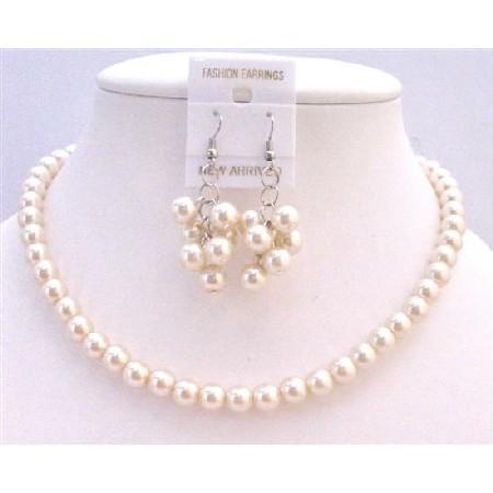 Wedding - Bridesmaid Pearl Jewelry Set,Bridesmaid Pearl Necklace Earrings,Ivory Pearl Necklace Earrings Set,Bridesmaid Jewelry Set Free Shipping USA