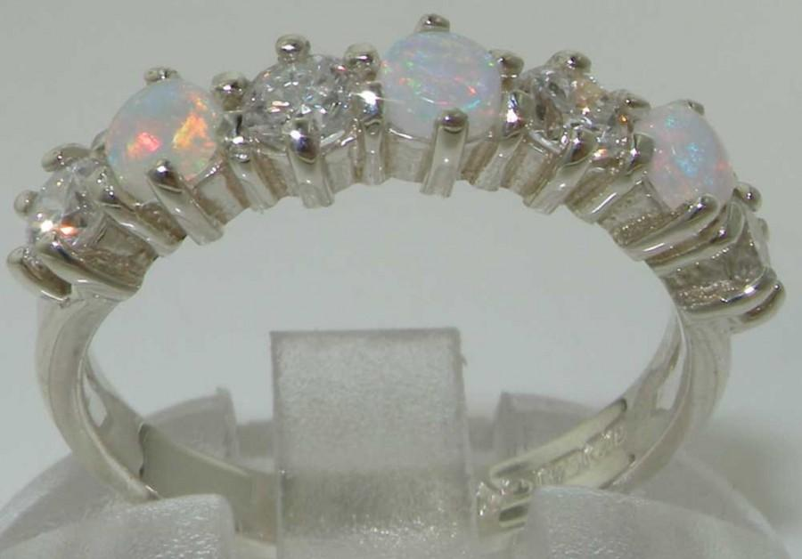 Wedding - Solid English 9K White Gold Genuine Natural Fiery Opal & 0.4 Carats Diamond Half Eternity Engagement Ring Wedding Band - Customizable