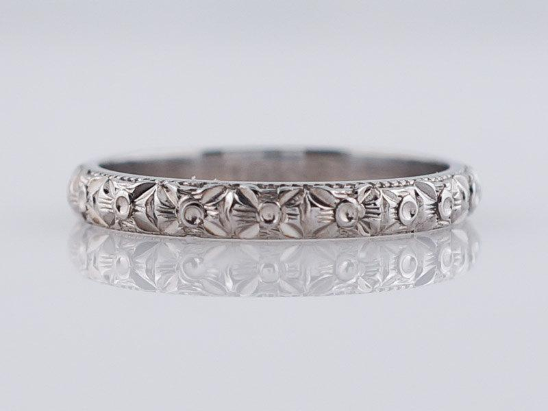 Antique Wedding Band Art Deco Orange Blossom In 18k White Gold
