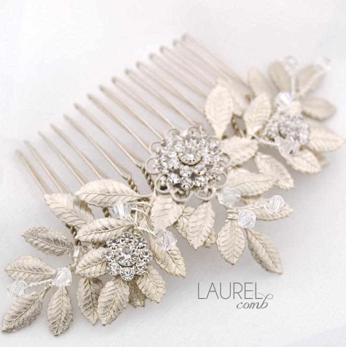 Mariage - Leafy wedding hair comb - silver leaf bridal comb - Swarovski crystal comb - Grecian comb - leaf headpiece - Laurel comb