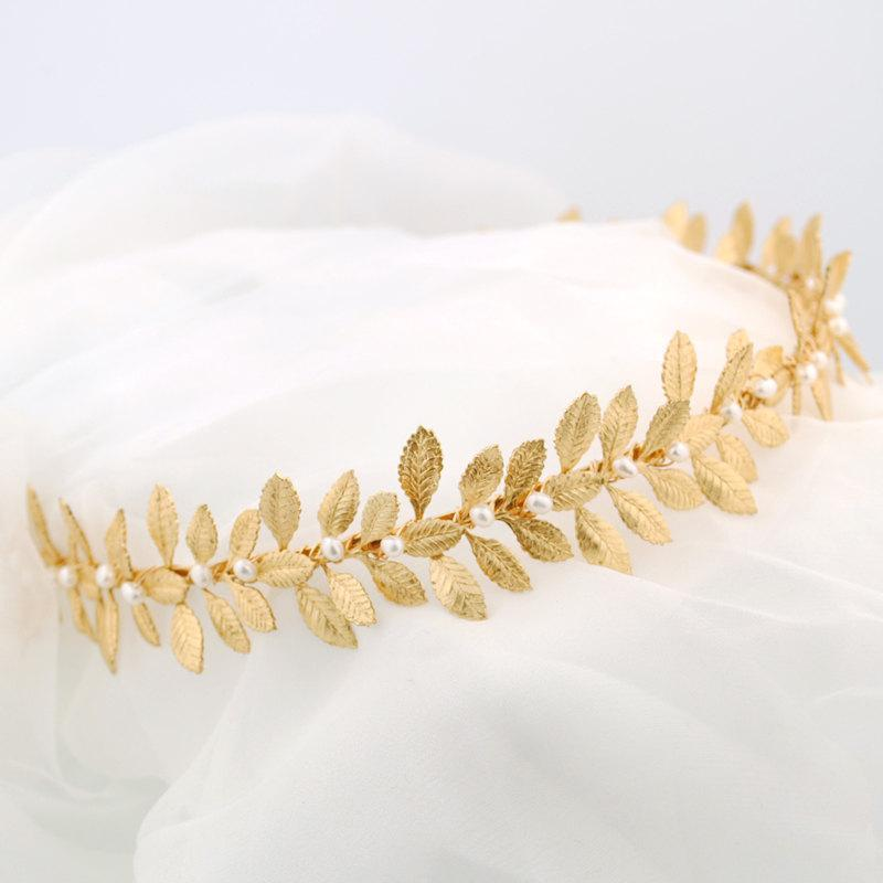 Wedding - Gold leaf headband - Grecian headpiece - leafy gold headband - wedding headband - bridal headpiece - Laurel headband