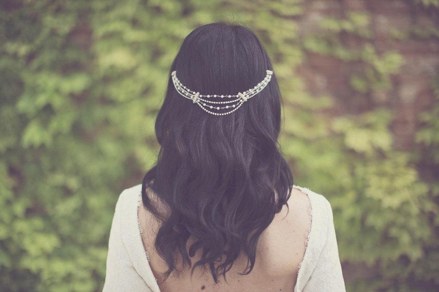 Hochzeit - Bridal pearl hair chain, crystal head piece, rhinestone head wrap, jewelry hairpiece, bohemian bride, silver accessories, boho - style 228
