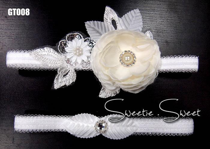 Свадьба - Wedding Garter, Bridal Garter, Garter Set, Flower Garter, Lace Garter, Wedding Keepsake, Toss Garter,  Rhinestone Garter GT008-set