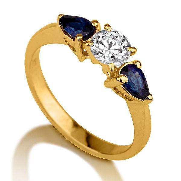 Three Stone Ring Sapphire Ring 14K Gold Ring Diamond Ring