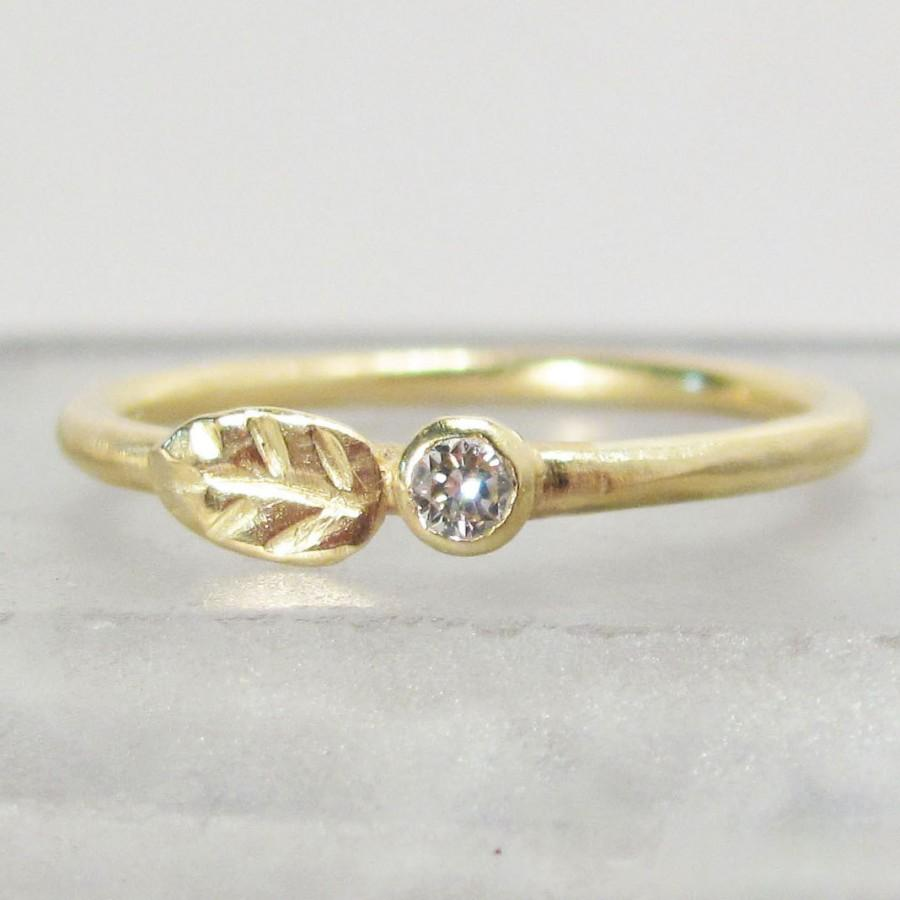 Mariage - Diamond and Gold Wedding Ring - 18k Leaf and Bud Engagement Ring - Eco-Friendly Recycled Gold