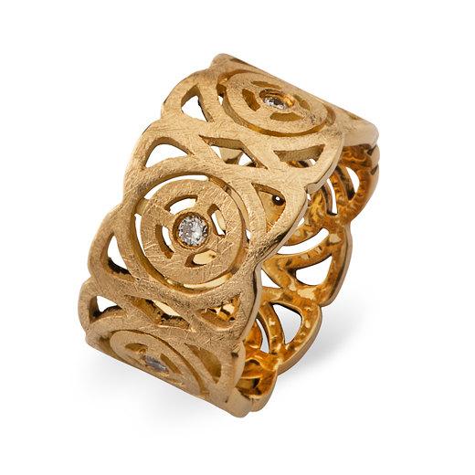 Mariage - Unique wedding ring Diamond Ring Gold ring Wide gold wedding band Unique engagement ring Braided unique gold ring Cocktail ring Women's ring