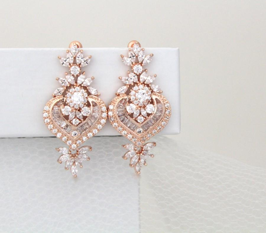 Rose Gold Bridal Earrings, Crystal Wedding Earrings, Wedding