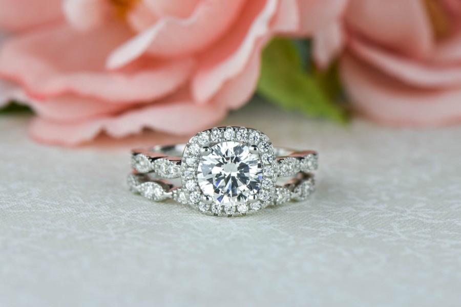 Mariage - 1.25 ctw Halo Wedding Set, Vintage Style Bridal Rings, Man Made Diamond Simulants, Art Deco Ring, Halo Engagement Ring, Sterling Silver