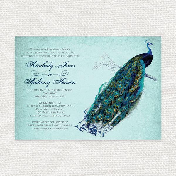 Mariage - vintage peacock wedding invitation printable diy wedding invitations bridal shower or rehearsal dinner invite