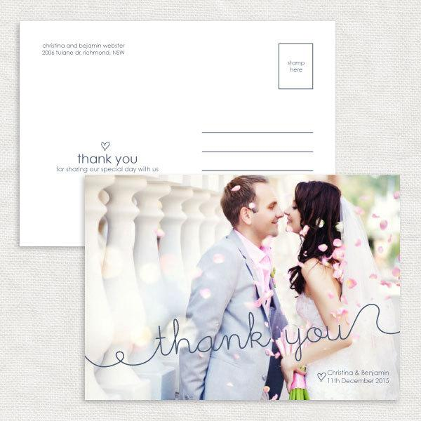 زفاف - squiggle photo wedding thank you card - printable - customised personalised file modern thanks hand-written calligraphy simple stationery