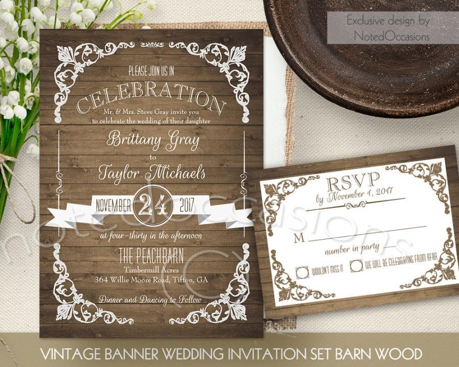 Hochzeit - Rustic Wedding Invitation Printable Set Country Wedding Invite Vintage Barn Wedding Wood DIY Digital Wedding Stationery Template RSVP