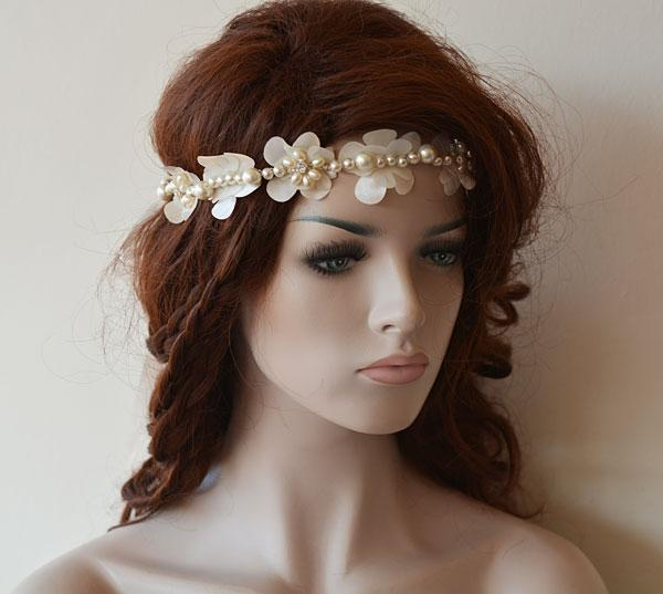 Hochzeit - Ivory Bridal Lace Headband