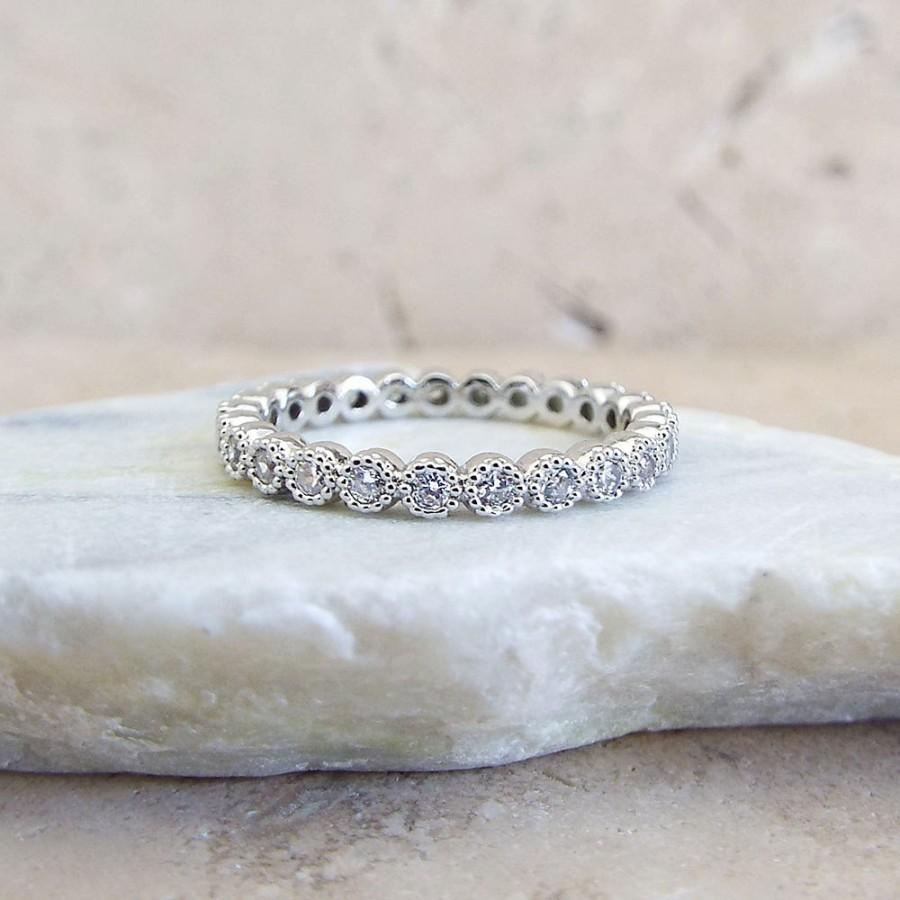 It is a photo of 44 Mm Full Eternity Band MILGRAIN Bezel CZ Wedding Ring Promise
