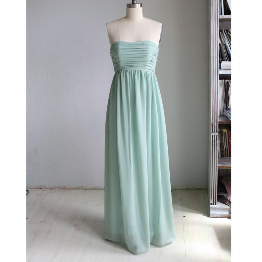 Hochzeit - 2015 Dusty Mint Bridesmaid dress, Strapless Chiffon Wedding dress, Long Prom dress, Womens Formal dress, Cocktail   dress floor length(B009)