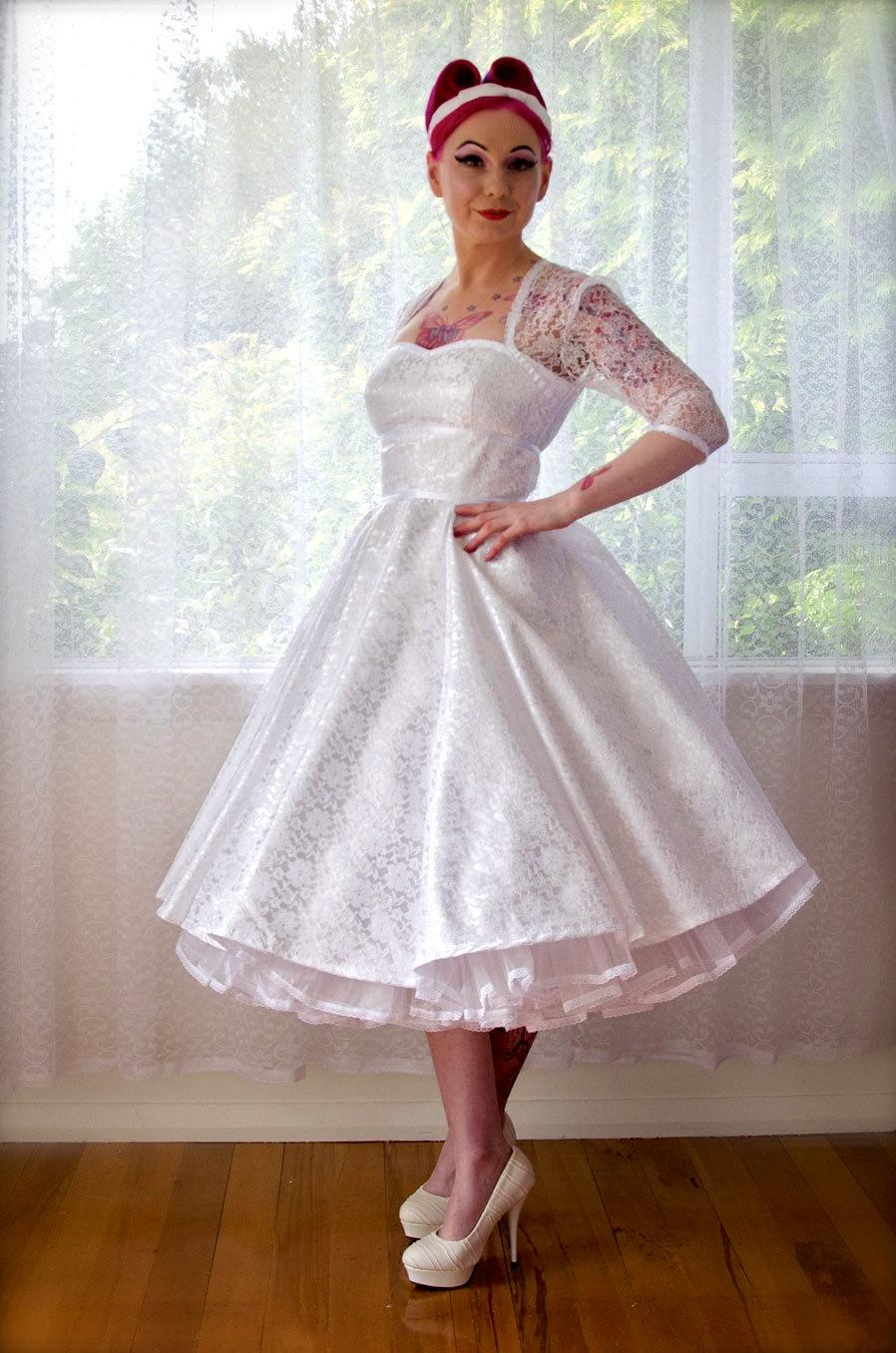 1950's Rockabilly Lorilynwedding Dress With Sleeves Lace Overlay Ribbon Trim Tea Length Skirt And Petticoat Custom Made To Fit: Edgy Tea Length Wedding Dresses At Reisefeber.org