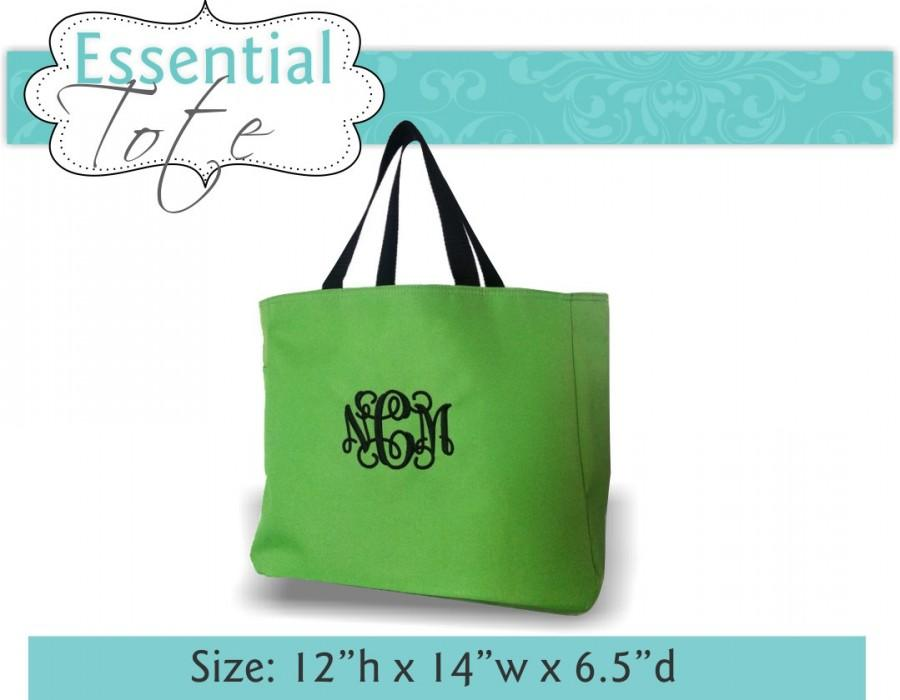 5 Monogrammed Essential Tote Bags Personalized Wedding Bride Bridesmaid Gifts Embroidered Bag Lots Of Colors
