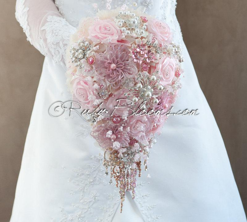 "Hochzeit - Cascading Blush Pink Wedding Brooch Bouquet. ""Blushing Bride"" Dusty Pink Teardrop Wedding Bouquets, Bridal Broach Bouquet, Ruby Blooms"