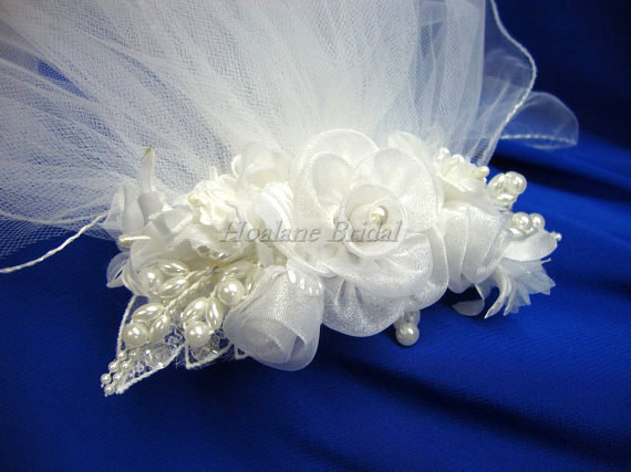 Wedding - Beautiful Flower Girl Headpiece, Floral Comb with detachable Veils, First Communion veils