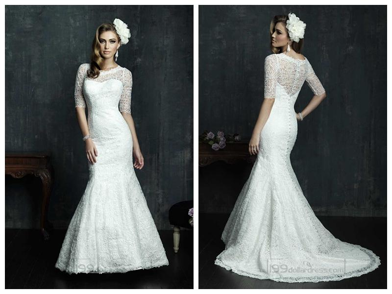 Boda - Half Sleeves Scooped Neckline Wedding Dresses with Covered Sheer Lace Back