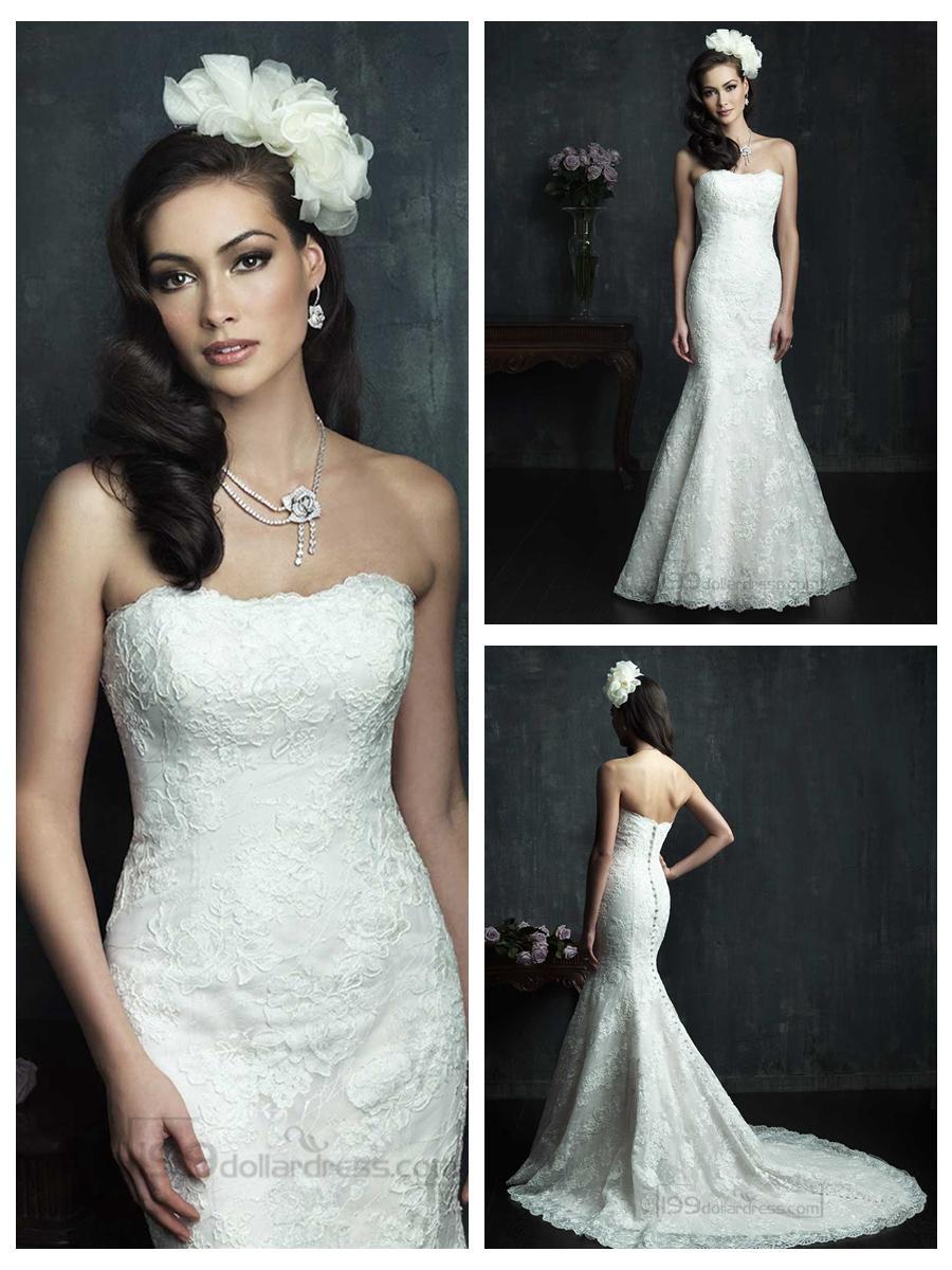 Strapless Slim Line Lace Appliques Mermaid Wedding Dresses #2454247 ...