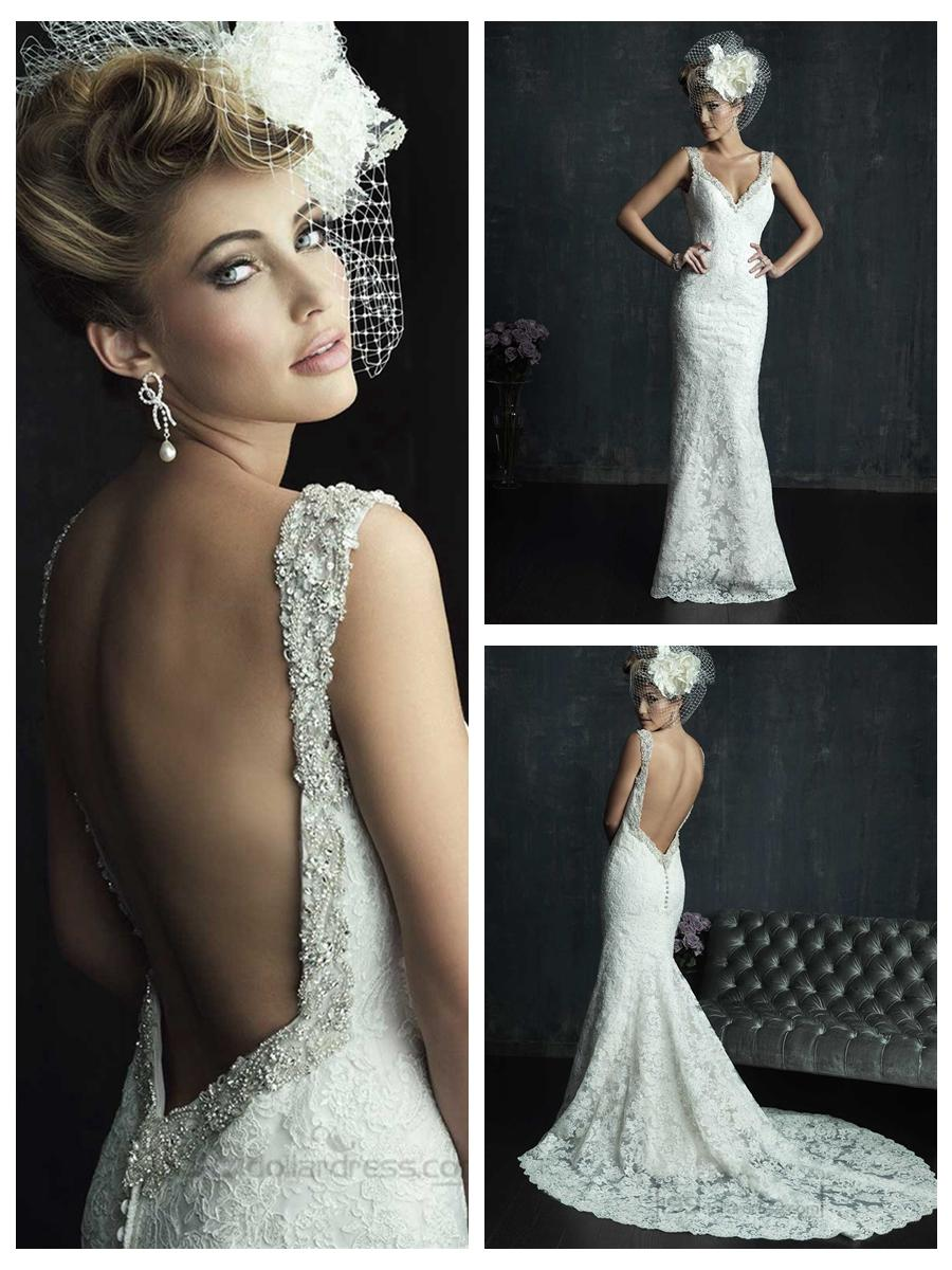 Beaded straps plunging neckline wedding dresses with low back beaded straps plunging neckline wedding dresses with low back junglespirit Image collections