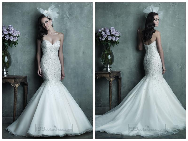 Strapless Mermaid Wedding Gown: Strapless Sweetheart Beaded Bodice Mermaid Wedding Dresses