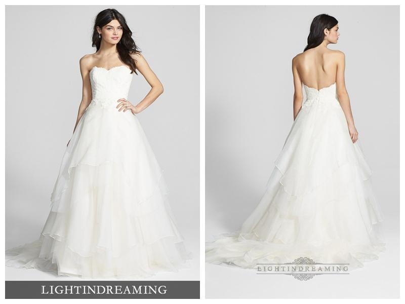 Boda - Strapless Sweetheart Lace Bodice Wedding Dresses with Tiered Ball Gown