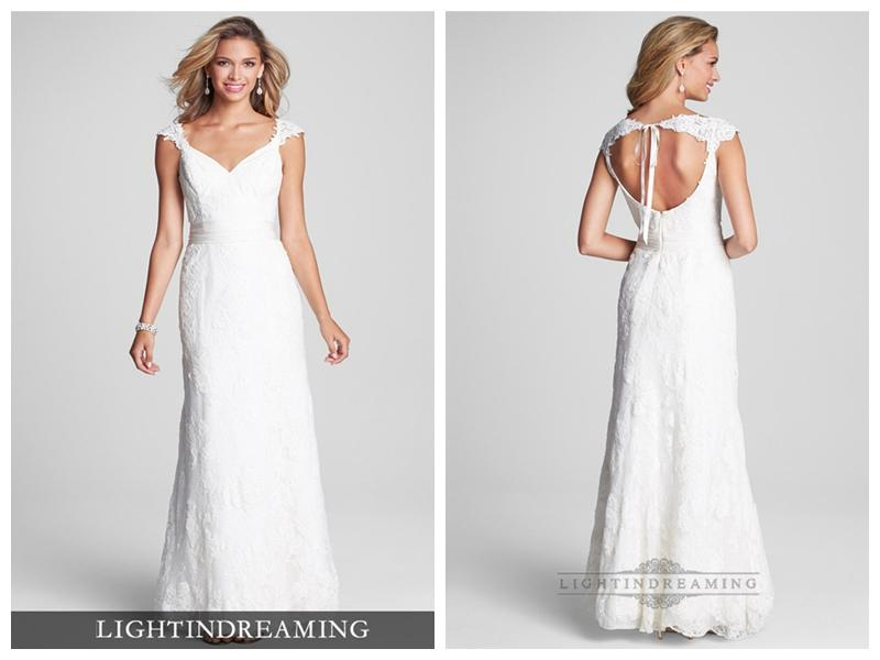 Boda - Cap Sleeves V-neck Lace Open Keyhole Back Wedding Dresses