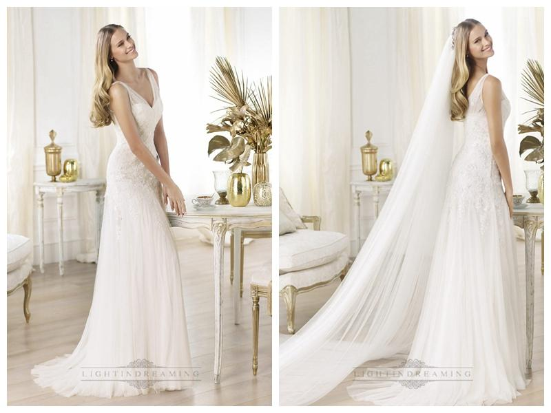 Elegant semi sheer draped v neck lace applique a line wedding
