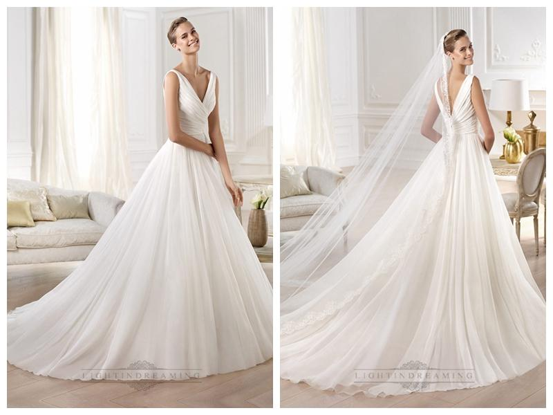 Wedding - Gorgeous V-neck And V-back Draped Ball Gown Wedding Dresses