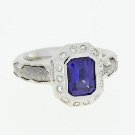Wedding - Blue Sapphire Ring with Moissanites, Palladuim Meteorite Ring, Widmanstatten Pattern