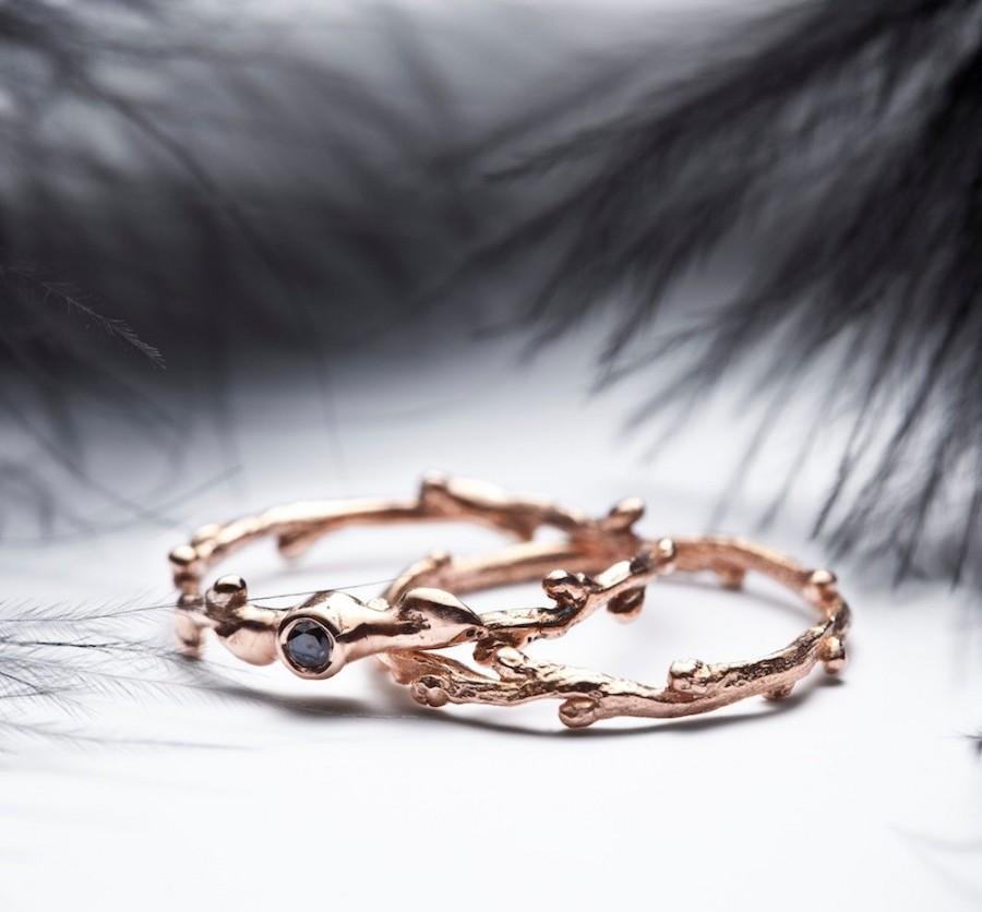 Wedding - Black diamond 14k rose gold rings - engagement and wedding  band set - In Her Dreams