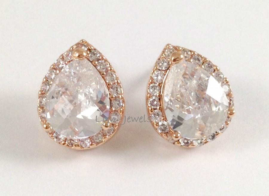 Rose Gold Earrings Cubic Zirconia Teardrop Post Sparkling Wedding Bridal Bridesmaids Prom Jewelry