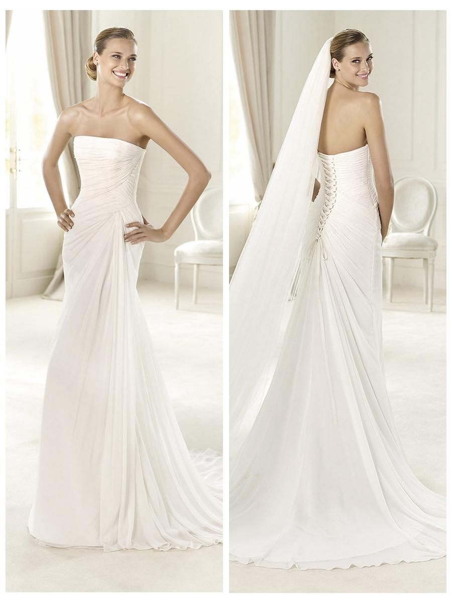 Wedding - Exquisite Strapless Draped Wedding Dress with Flattering Lace-up Back