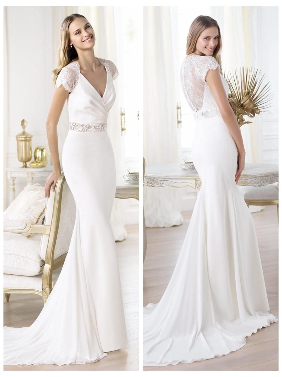 Wedding - Elegant Short Sleeves Plunging V-neck Mermaid Illusion Back Wedding Dress Featuring Crystal