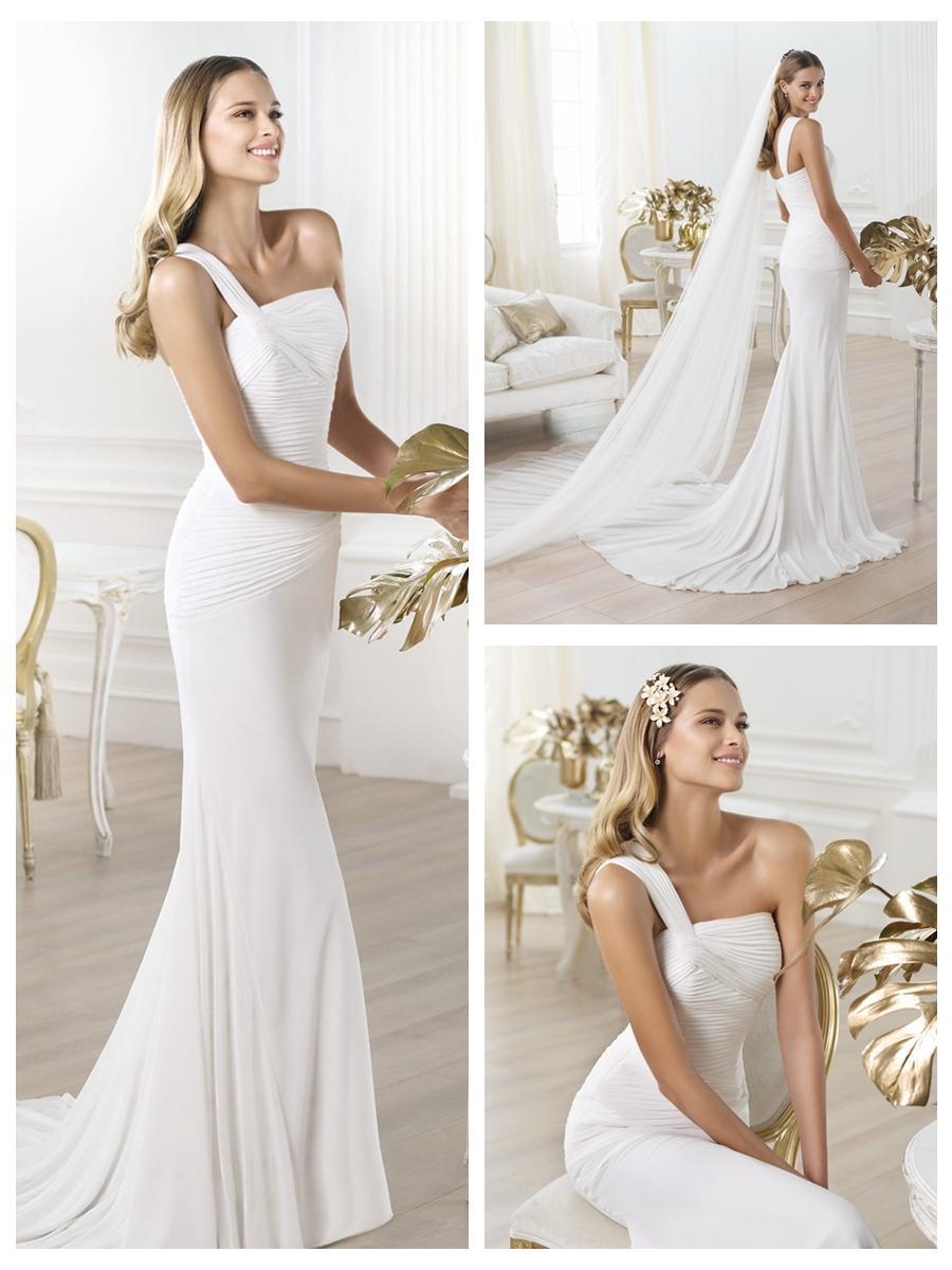 Mariage - One-shoulder Asymmetric Draped Bodice Wedding Dress with Flared Skirt
