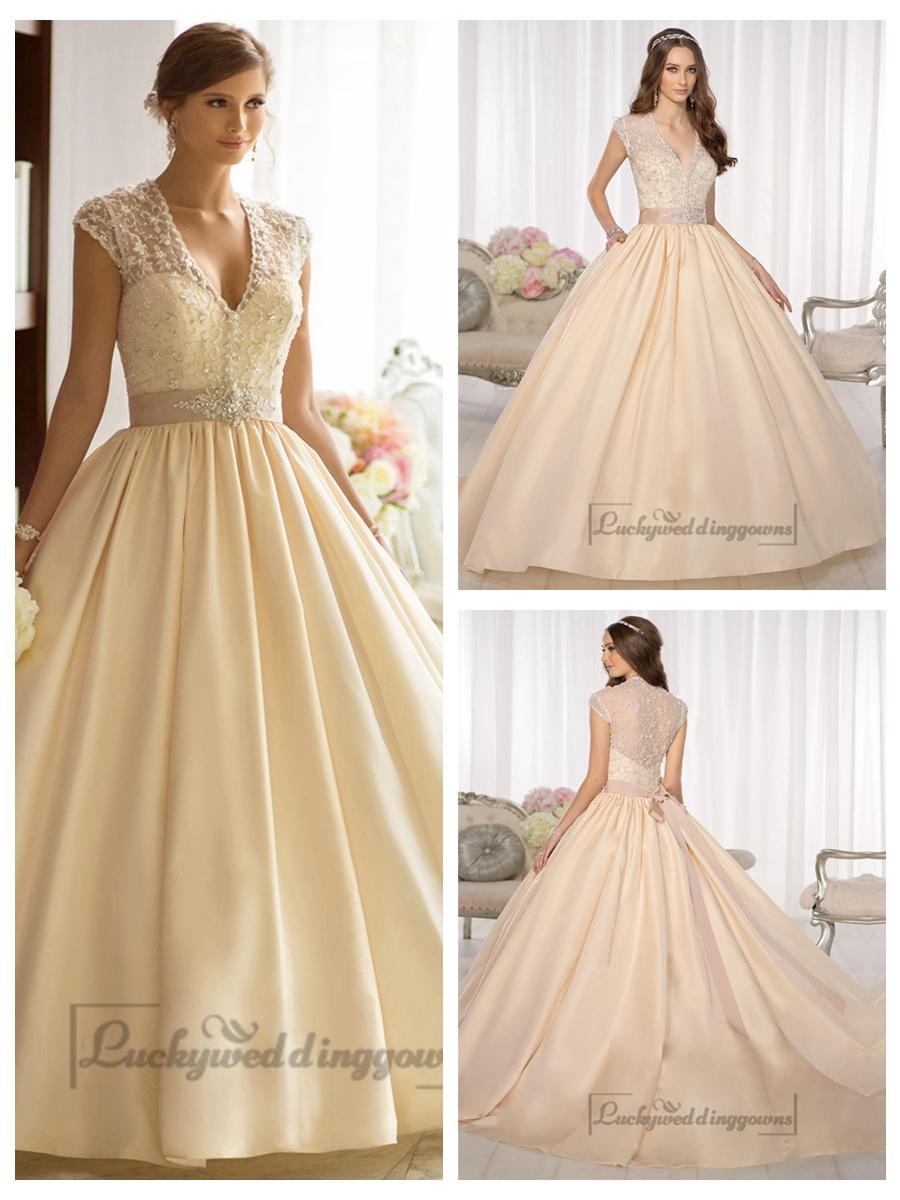 Elegant Cap Sleeves V-neck Princess Ball Gown Wedding Dresses With ...
