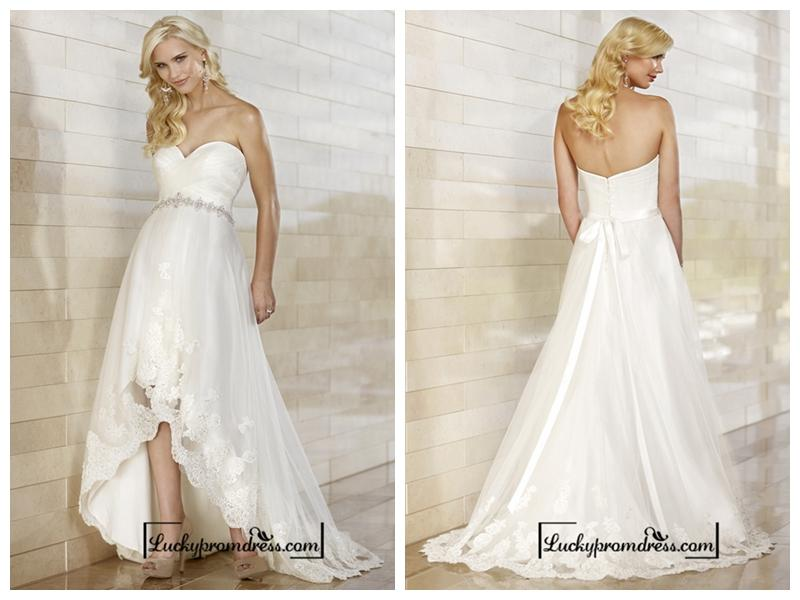 Mariage - Gorgeous Slim High-low Sweetheart Ruched Bodice Wedding Dresses