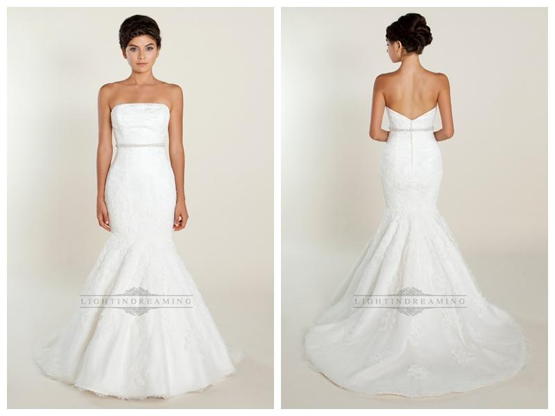 Wedding - Fit and Flare Strapless Lace Wedding Dresses with Beaded Belt