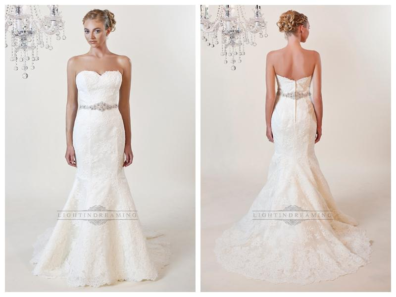 Strapless Mermaid Sweetheart Lace Wedding Dresses With Beaded Belt