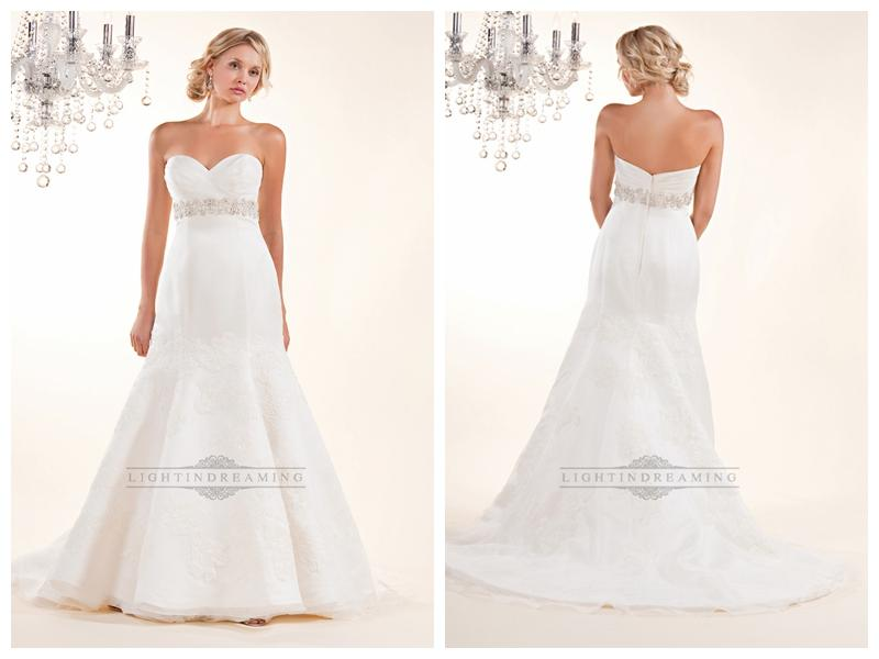 Wedding - Fit and Flare Cross Sweetheart with Lace Appliques and Beaded Belt