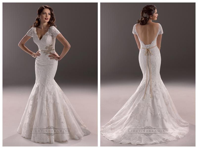 Elegant Plunging V Neck Short Sleeves Mermaid Open Back Wedding Dresses